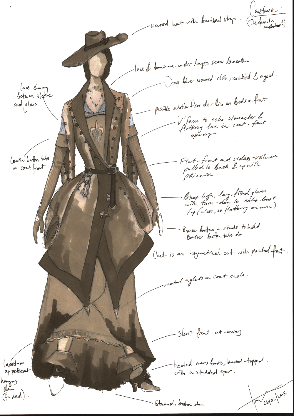 'Constance' Female Musketeer costume design