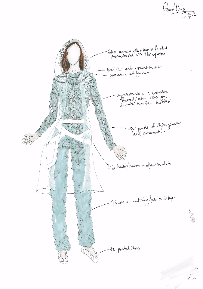 Costume Design Illustration for 'Goodthing', futuristic character