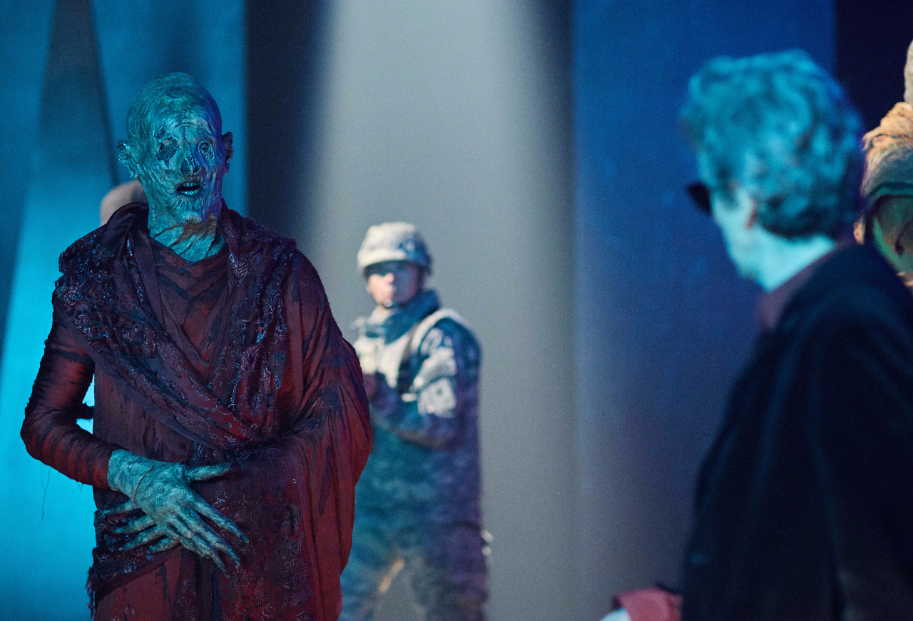 Peter Capaldi, The Doctor, in scene with Red Monk