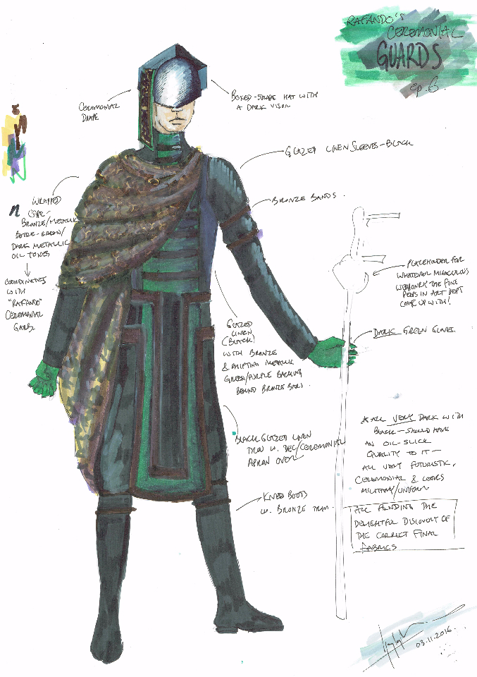 Costume Design Illustration for 'The Guards'