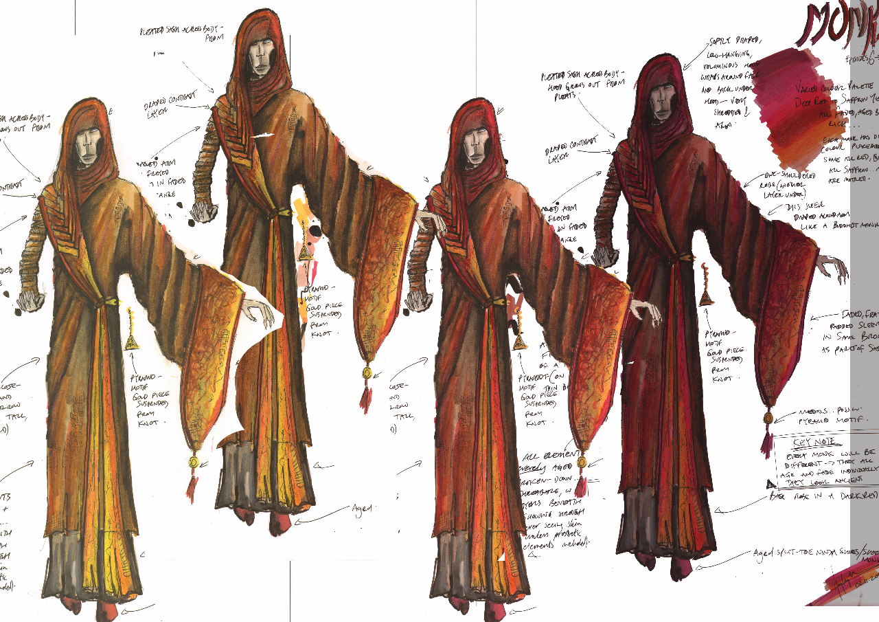 Costume Design Illustration for 'Monks' - 11 made in various colours