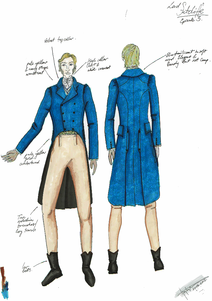 Costume Design Illustration for 'Sutcliffe' character