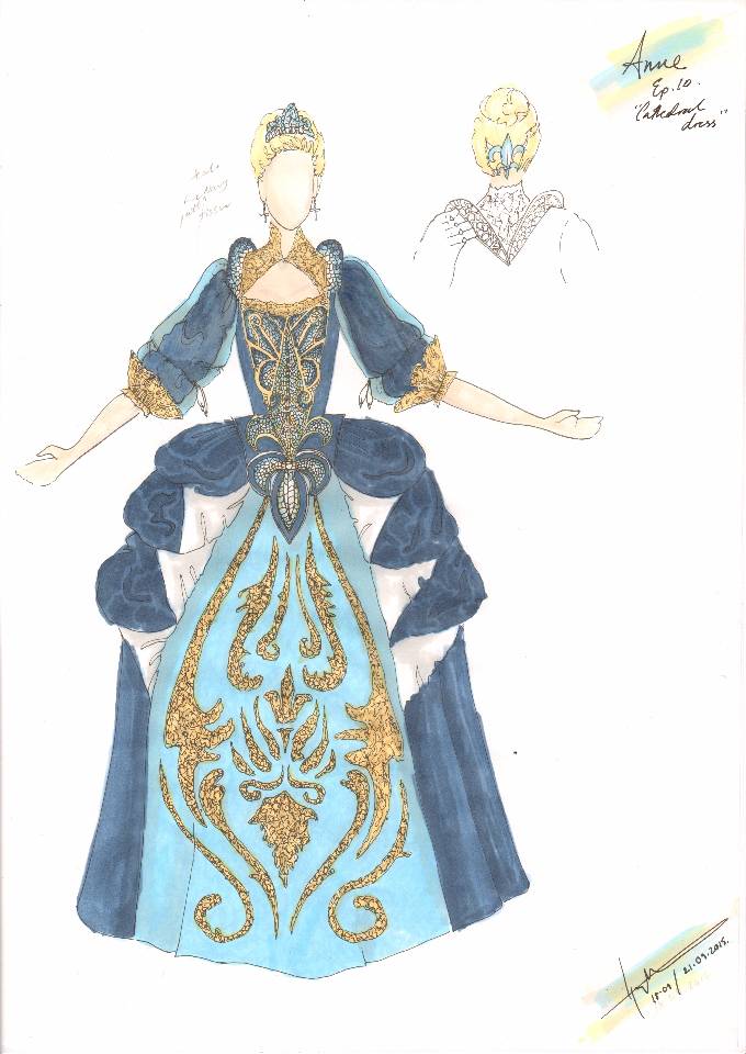 Costume Design Illustration for Queen Anne Cathedral Dress for season finale