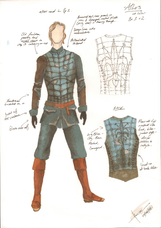 Costume Design Illustration for Athos 'War' look