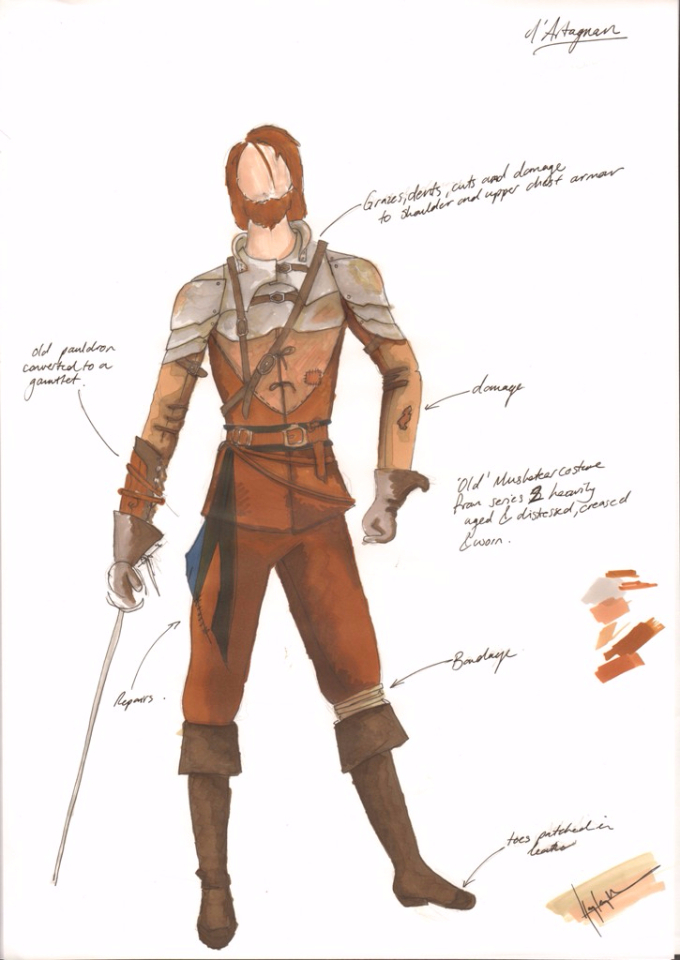 Costume Design Illustration for D'Artagnan's war look