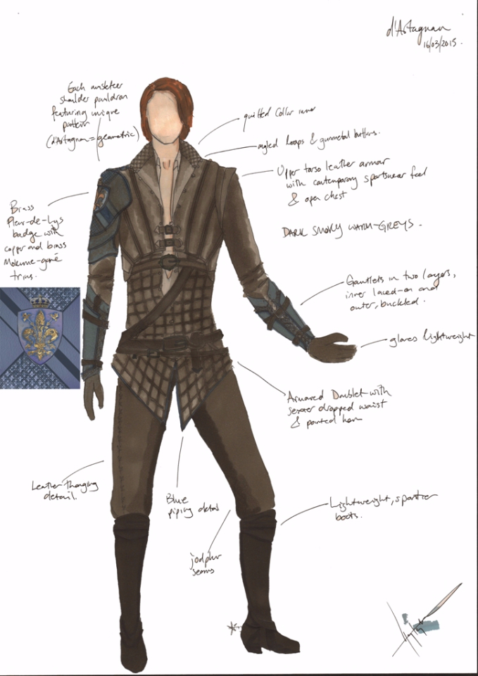Costume Design Illustration  for D'Artagnan's new costume for series 3