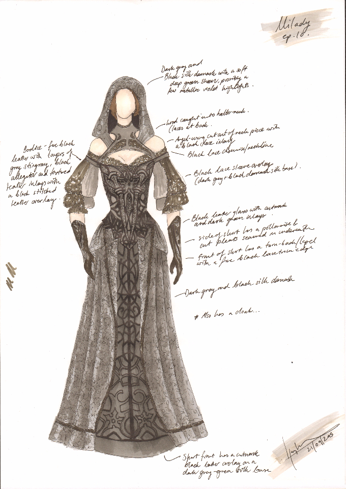 All-leather 'Assassin' dress for episode 10, season finale