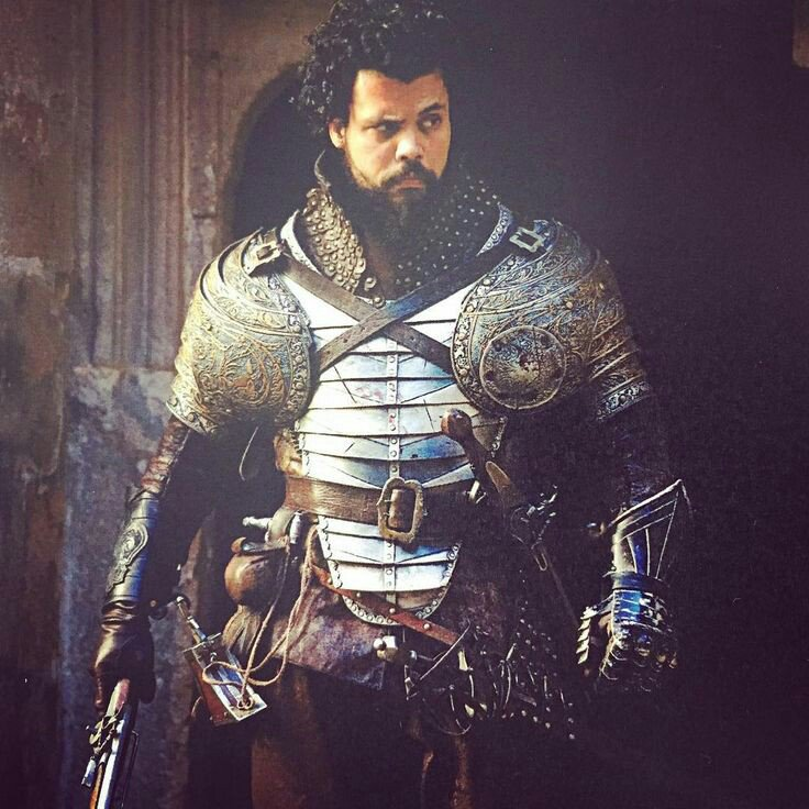 Howard Charles as Porthos in the new 'War' costume for series 3