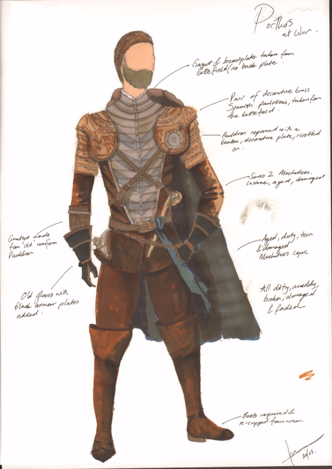 Costume Design Illustration of Porthos' War look
